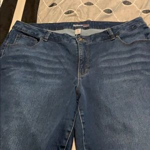 Bootcut blue jeans with tummy control